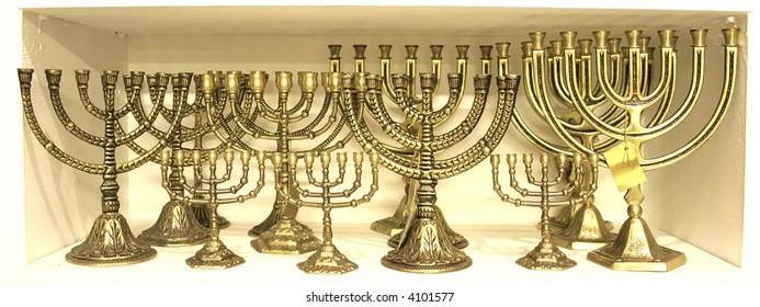 golden colour jewish chandelier menorah