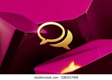 Golden Comments Icon With the Fine Magenta Glossy Boxes. 3D Illustration of the Golden Bubble, Chat, Chat Bubble, Comment, Comment Bubble, Comments Icon Set on Magenta Abstract Background.