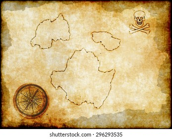 golden compass and the skull and crossbones with vintage map background, Pirate map on vintage paper