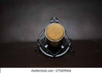 A golden condenser microphone for recording