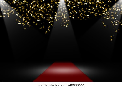 golden confetti on red carpet