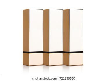 Golden container of luxury cosmetic lipstick on white background