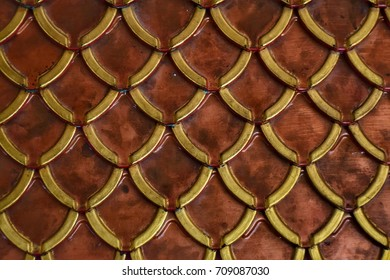 golden copper - red roof tile texture at Thai temple