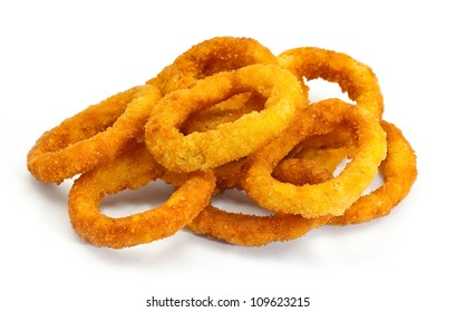 golden crispy Onion rings coated with breadcrumbs and deep fried