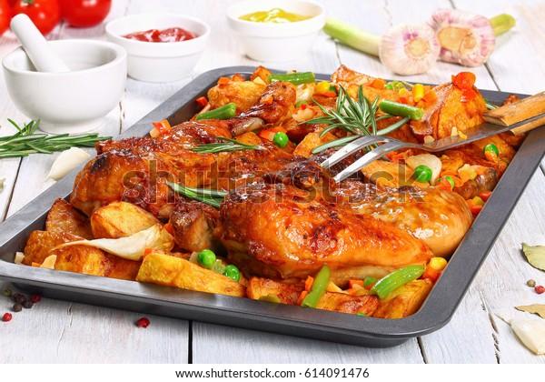 Golden Crispy Skin Grilled Chicken Tabaka Stock Photo (Edit