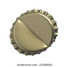 Golden crown cap Bottle cap open and isolated on white