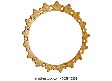 Golden crown.  Gold teara for princess. Expensive jewelry. Can be used as frame. Decoration for king or queen, magic crown isolated on white background, close up, top view