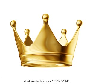 golden crown isolated on a white. 3d illustration