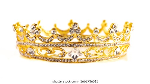 A Golden Crown Isolated on a White Background