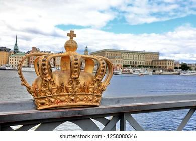 Golden crown on Skeppsholm bridge ,Stockholm , Sweden