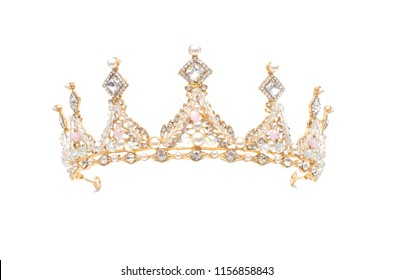 golden crown with pearls and beads isolated on white