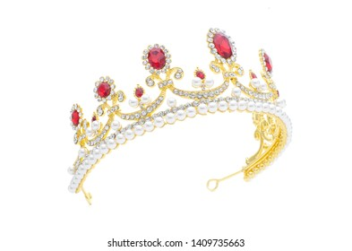 golden crown with rubies and pearls on a white background