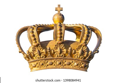 Golden Crown. Swedish Royal Crown isolated on white background. Symbol of Swedish Kingdom. National Emblem. Golden Royal Crown of Sweden. National Day of Sweden.