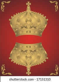 Golden crowns on red background