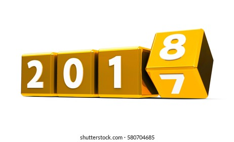 Golden cubes with 2017-2018 change on a white table represents the new 2018, three-dimensional rendering, 3D illustration