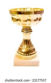 Golden cup on white ground