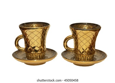 a golden cups isolated on white