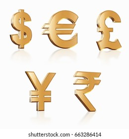 Golden Currency, dollar, euro, yen,pound, rupee, money symbol with Clipping path, 3d illustration