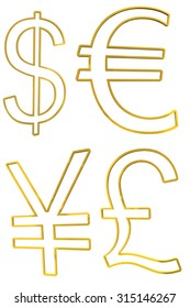 Golden currency symbols on white background