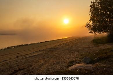 Golden dawning on Sinas beach in Vilanova de Arousa