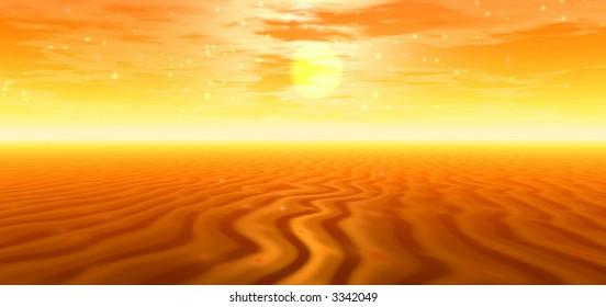 Golden desert. Panorama.