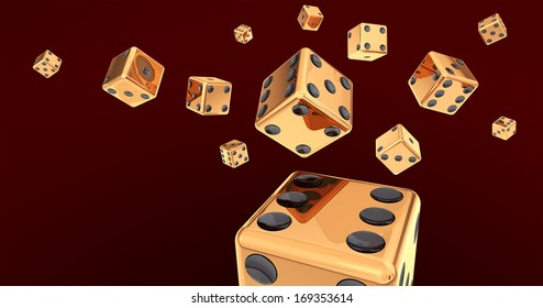 Golden Dice on Dark Red Background 3D Illustration (with clipping path)