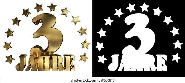 Golden digit three and the word of the year, decorated with stars. Translated from the German. 3D illustration