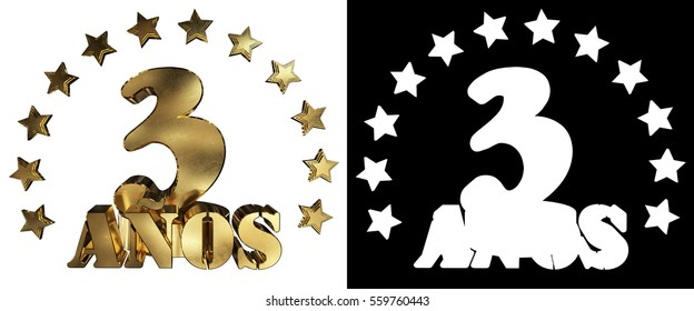 Golden digit three and the word of the year, decorated with stars. Translated from the Spanish. 3D illustration