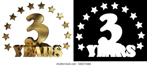 Golden digit three and the word of the year, decorated with stars.  3D illustration