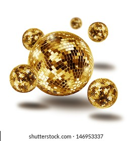 Golden disco mirror balls atomium molecule isolated on white background