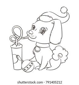 Golden dog drinks coffee or milk shake. Hand drawn raster illustration for New Year t-shirt, poster, postcard