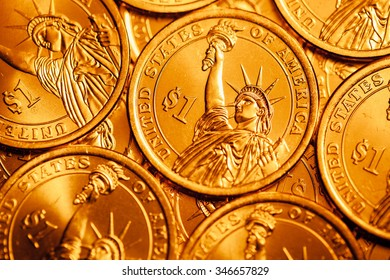 golden dollar coins background