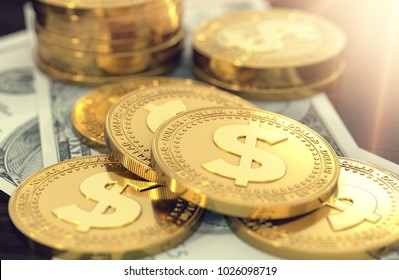Golden dollar coins laying on dollar bills for money saving concept. 3D rendering