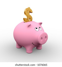 A golden Dollar in a pink piggy bank (3D rendering) - A clipping path is embedded