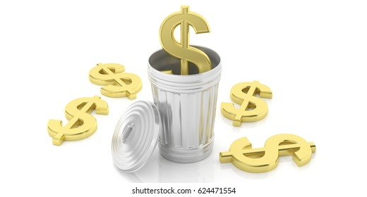 Golden dollar symbol and steel trash bin isolated on white background. 3d illustration