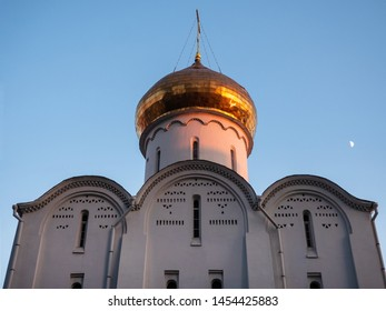 Golden dome at evening of the Orthodox Church in Moscow