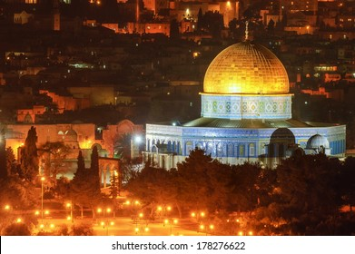 Golden Dome mosque, Jerusalem, Israel, night view