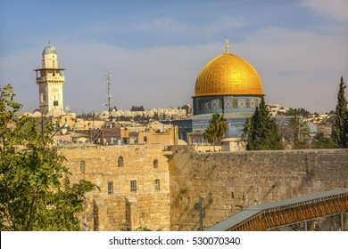 "Golden Dome of the Rock Ghawanima Minaret Western""Wailing"" Wall of Ancient Temple Jerusalem Israel.  Built in 100 BC by Herod the Great on Temple Mount, Judaism's most holy site."