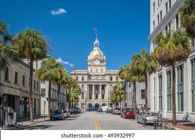 The golden dome of the Savannah City Hall in Savannah Georgia USA