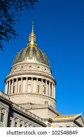 Golden dome of the West Virginia statehouse located in Charleston, West Virginia, USA.