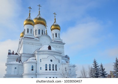The Golden domes of Archangel Michael Cathedral in Arkhangelsk, Russia