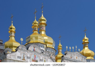 Golden domes of the Cathedral of the Assumption (Great Church) in the Monastery of the Caves in Kiev