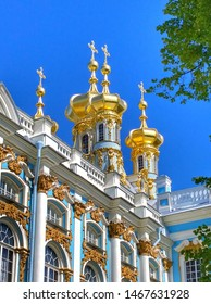Golden domes of the Catherine Palace Church in Pushkin (Tsarskoye Selo), a suburb of St. Petersburg, Russia. A favorite place for excursions and travel of tourists.