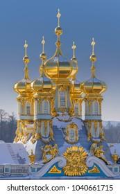 Golden domes in The Catherine Palace, Tsarskoye Selo, Pushkin, Saint-Petersburg, Russia