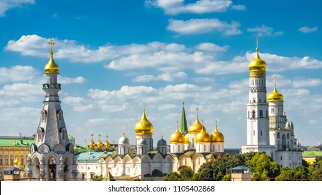 Golden domes of the old churches and cathedrals in Moscow Kremlin, Russia. Ancient Moscow Kremlin is a top tourist attraction of Moscow. Beautiful panorama of the Moscow historical center in summer.