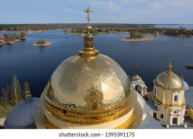 Golden domes of St. Nil (Nilus) Monastery, Russia