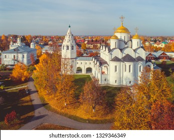 Golden domes of Suzdal Pokrovsky Cathedral in the fall. Suzdal is part of the tourist route called the Golden Ring of Russia.