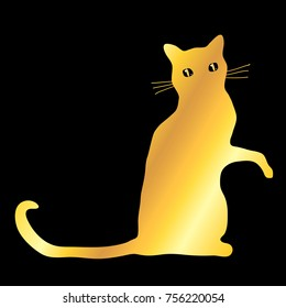 Golden domestic sitting cat pet mascot silhouette icon, illustration isolated over black.