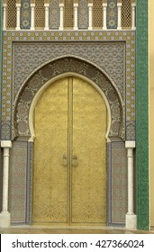 golden door detail in a mosque in Fez, in morocco