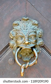 A golden door handle on a reddy-brown wooden door. It is in the shape of a lion's head, with the handle in  its mouth. A snake is coiled around the handle.